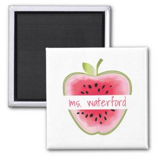Watermelon Apple Personalised Teacher Square Magnet