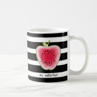 Watermelon Apple Stripes Personalised Teacher Coffee Mug
