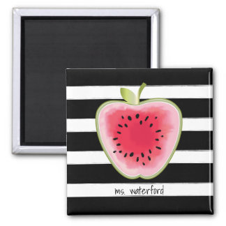 Watermelon Apple Stripes Personalised Teacher Magnet