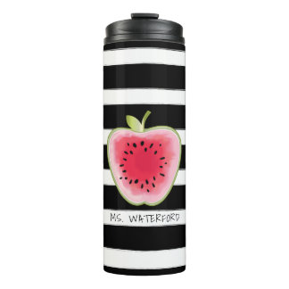 Watermelon Apple Stripes Personalised Teacher Thermal Tumbler