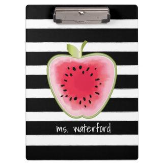 Watermelon Apple Stripes Personalized Teacher Clipboard