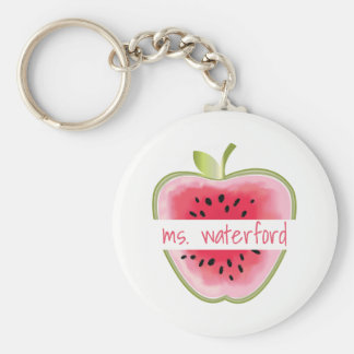 Watermelon Apple Teacher Basic Round Button Key Ring