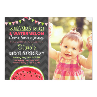 Watermelon Birthday Invitation Sun Summer Party