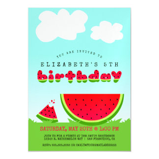 Watermelon Birthday Picnic Party Magnetic Invitations