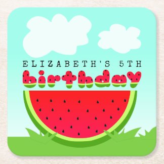 Watermelon Birthday Picnic Party Square Paper Coaster