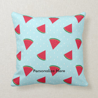 Watermelon Blue Fun Summer Fruit Throw Pillow