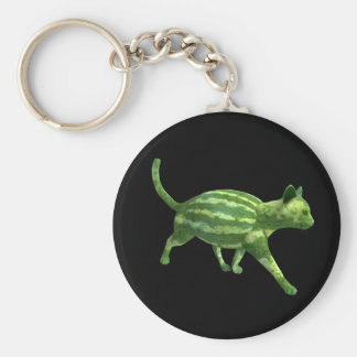 Watermelon Cat Basic Round Button Key Ring