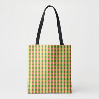 Watermelon Check all over green back Tote Bag