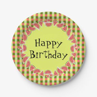 Watermelon Check Happy Birthday paper plates