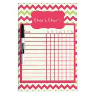 Watermelon Chevron Chore Chart Dry Erase Board