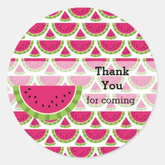 Watermelon color classic round sticker