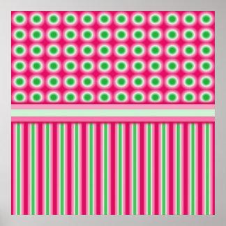 Watermelon Dots Stripes Posters