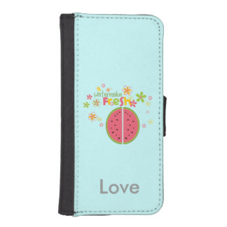 Watermelon Fresh Fruits Personalized Blue iPhone 5 Wallet Case