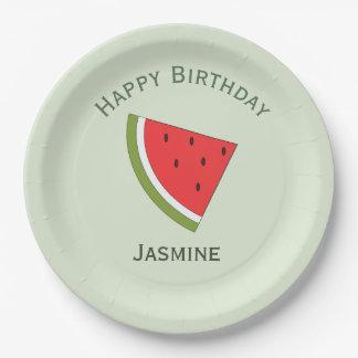 Watermelon fruit, happy birthday paper plate