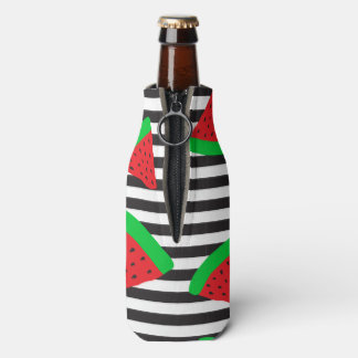 Watermelon Fruit Stripes Red Bottle Cooler