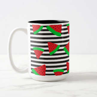 Watermelon Fruit Stripes Red Two Tone Mug