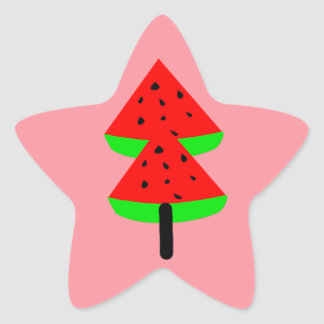 watermelon fruit tree star sticker