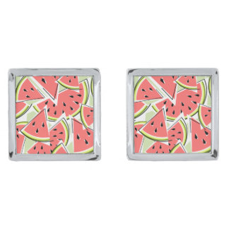Watermelon Green cufflinks Silver Finish Cuff Links