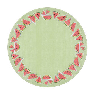 Watermelon Green Pieces border round Cutting Board