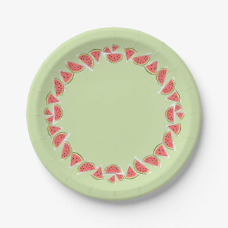 Watermelon Green Pieces Circle paper plate