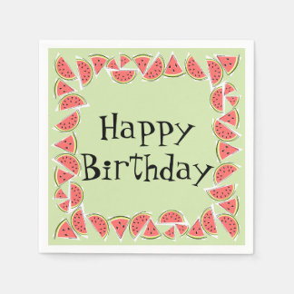 Watermelon Green Pieces Square Happy Birthday Disposable Napkins