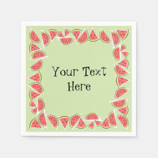 Watermelon Green Pieces Square Text napkins paper Paper Napkin