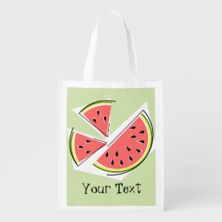 Watermelon Green Pieces Text reusable bag