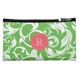 Watermelon Green Pink Floral Scroll Red Monogram Cosmetic Bag