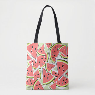 Watermelon Green tote bag pink back