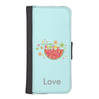 Watermelon Half Fruits Personalized Blue iPhone 5 Wallets