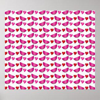 Watermelon heart pattern print