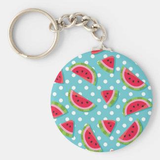 Watermelon on Aqua and White Dots (2) Key Ring