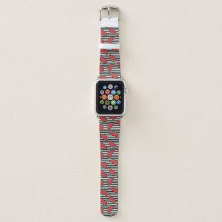 Watermelon on Black & White Stripes Pattern Apple Watch Band