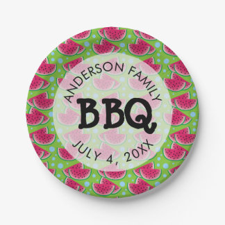 Watermelon Pattern Background Family BBQ Paper Plate