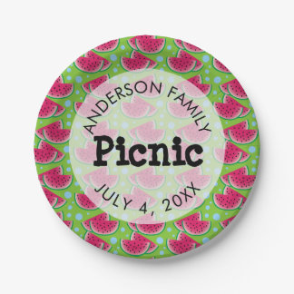Watermelon Pattern Background Family Picnic Paper Plate