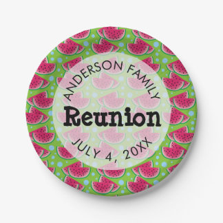 Watermelon Pattern Background Family Reunion Paper Plate