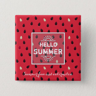 Watermelon Pattern, Summer Time | Personalized 15 Cm Square Badge