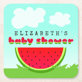 Watermelon Picnic Baby Shower Square Paper Coaster