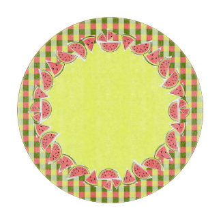 Watermelon Pieces Check border round Cutting Board