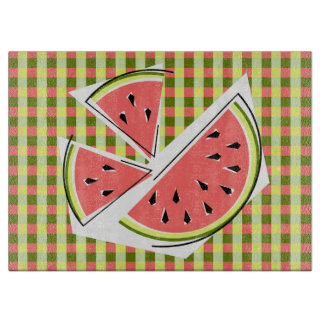 Watermelon Pieces Check cutting board