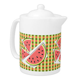 Watermelon Pieces Check teapot