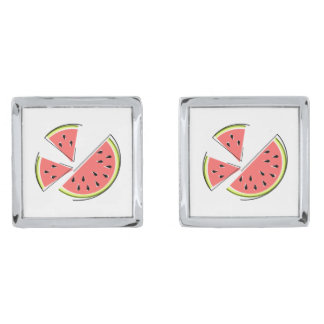 Watermelon Pieces cufflinks Silver Finish Cufflinks