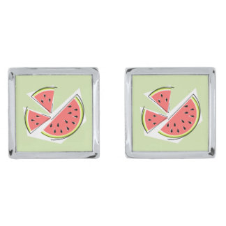 Watermelon Pieces Green cufflinks Silver Finish Cufflinks