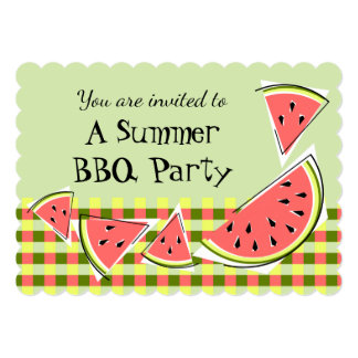 Watermelon Pieces Green Summer BBQ check Card