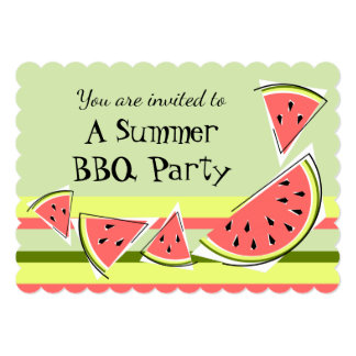 Watermelon Pieces Green Summer BBQ stripe Card