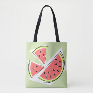 Watermelon Pieces Green tote bag striped back