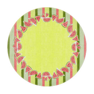 Watermelon Pieces Stripe border round Cutting Board