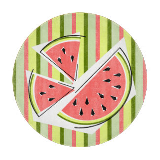 Watermelon Pieces Stripe Classic round Cutting Board