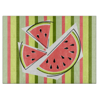 Watermelon Pieces Stripe cutting board