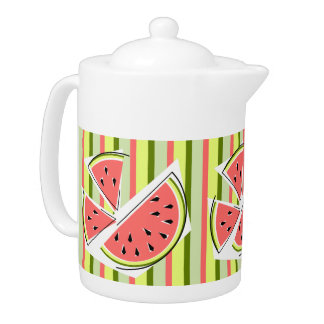 Watermelon Pieces Stripe teapot